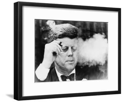 President John Kennedy, Smoking a Cigar at a Democratic Fundraiser, Oct. 19, 1963--Framed Photo