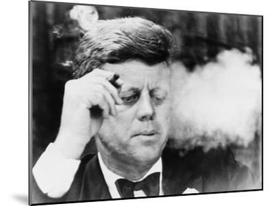 President John Kennedy, Smoking a Cigar at a Democratic Fundraiser, Oct. 19, 1963--Mounted Photo