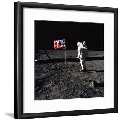 Apollo 11 Astronaut Buzz Aldrin During the First Lunar Landing, July 20, 1969--Framed Photo