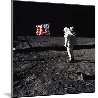 Apollo 11 Astronaut Buzz Aldrin During the First Lunar Landing, July 20, 1969--Mounted Photo