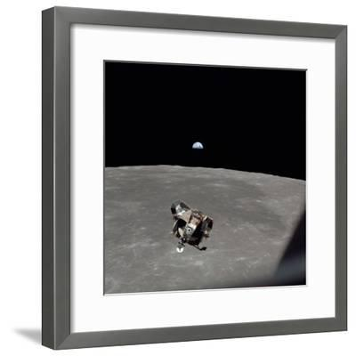 The Apollo 11 Lunar Module Ascending from Moon's Surface, July 20, 1969--Framed Photo