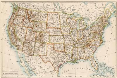 United States Map, 1870s--Framed Premium Giclee Print