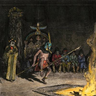 Shalako Leading a Ceremony at Night, Zuni Pueblo, New Mexico, 1800s--Framed Giclee Print