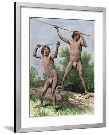 Native Hunters of Tierra Del Fuego with Spear and Sling--Framed Giclee Print