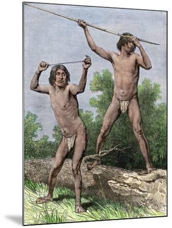Native Hunters of Tierra Del Fuego with Spear and Sling--Mounted Giclee Print