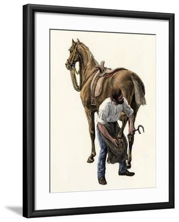 Blacksmith Fitting a Horseshoe, 1800s--Framed Giclee Print