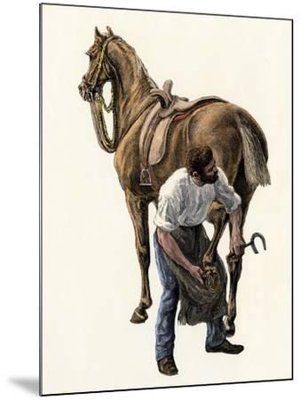 Blacksmith Fitting a Horseshoe, 1800s--Mounted Giclee Print