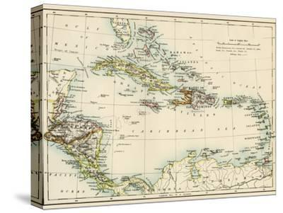 Map of West Indies and the Caribbean Sea, 1800s--Stretched Canvas Print