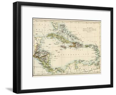 Map of West Indies and the Caribbean Sea, 1800s--Framed Giclee Print