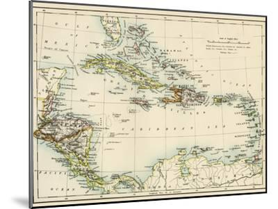 Map of West Indies and the Caribbean Sea, 1800s--Mounted Giclee Print