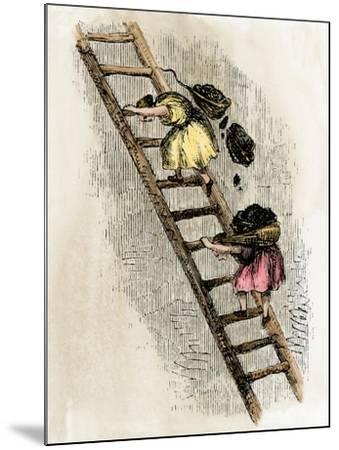 Women Coal-Bearers in the East Scotland Mines, 1850s--Mounted Giclee Print
