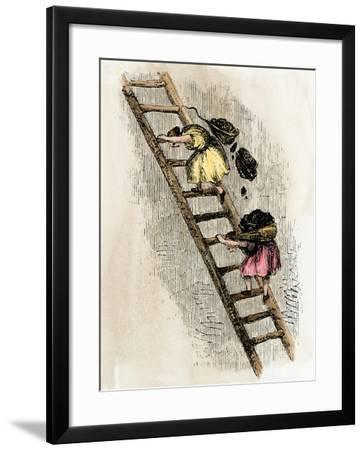 Women Coal-Bearers in the East Scotland Mines, 1850s--Framed Giclee Print