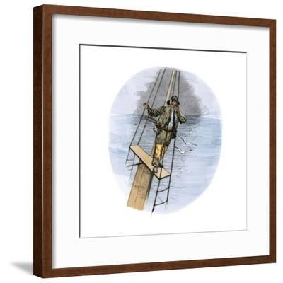 """Whaling Schooner Lookout Calling, """"There She Blows!""""--Framed Giclee Print"""