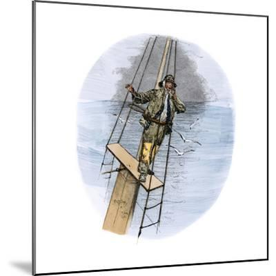 """Whaling Schooner Lookout Calling, """"There She Blows!""""--Mounted Giclee Print"""