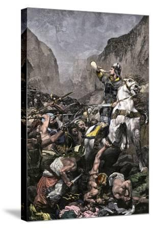 Roland Blowing His Warhorn in Battle Against the Saracens at Roncesvalle, 789 AD--Stretched Canvas Print