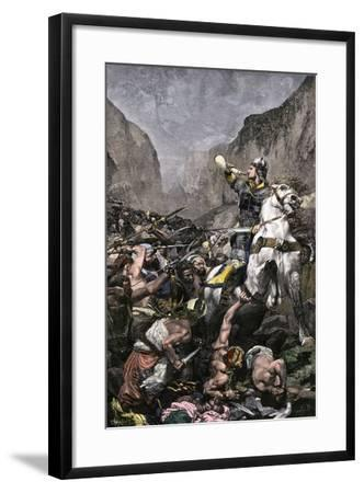 Roland Blowing His Warhorn in Battle Against the Saracens at Roncesvalle, 789 AD--Framed Giclee Print