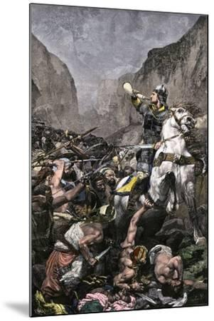 Roland Blowing His Warhorn in Battle Against the Saracens at Roncesvalle, 789 AD--Mounted Giclee Print