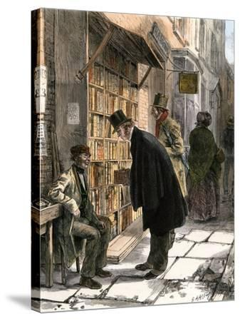 Browsers at a Sidewalk Bookstall, 1800s--Stretched Canvas Print