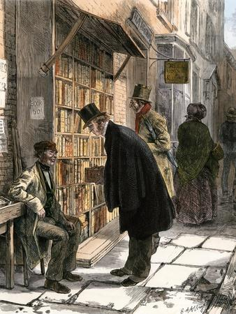Browsers at a Sidewalk Bookstall, 1800s--Premium Giclee Print