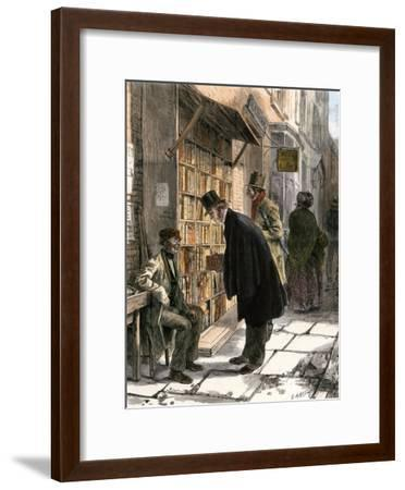 Browsers at a Sidewalk Bookstall, 1800s--Framed Giclee Print