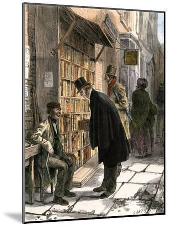 Browsers at a Sidewalk Bookstall, 1800s--Mounted Giclee Print