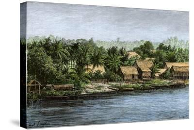 Native Village in Borneo Near Sarawak, 1800s--Stretched Canvas Print