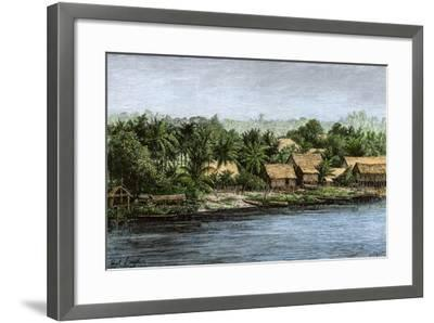 Native Village in Borneo Near Sarawak, 1800s--Framed Giclee Print