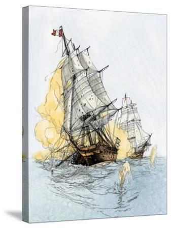 """American Ship """"Boston"""" Firing on """"Le Berceau"""" in an Undeclared Naval War with France, 1800--Stretched Canvas Print"""