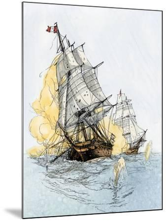 """American Ship """"Boston"""" Firing on """"Le Berceau"""" in an Undeclared Naval War with France, 1800--Mounted Giclee Print"""