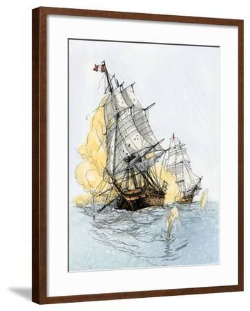 """American Ship """"Boston"""" Firing on """"Le Berceau"""" in an Undeclared Naval War with France, 1800--Framed Giclee Print"""