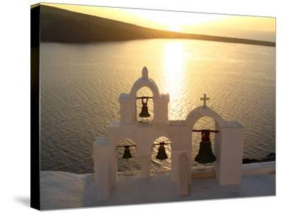 Sunset On the Aegean Sea, Behind a Set of Church Bells-Charles Kogod-Stretched Canvas Print
