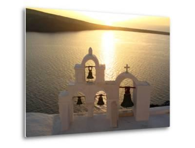 Sunset On the Aegean Sea, Behind a Set of Church Bells-Charles Kogod-Metal Print