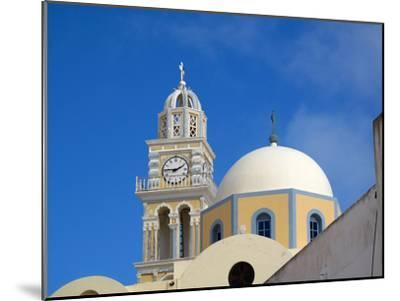 A Multi-colored Church On the Road Between Fira and Firostefani-Charles Kogod-Mounted Photographic Print