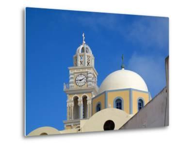 A Multi-colored Church On the Road Between Fira and Firostefani-Charles Kogod-Metal Print