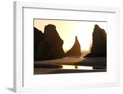 A Bird Atop the Rock Monoliths Known As Sea Stacks At Twilight-Charles Kogod-Framed Photographic Print