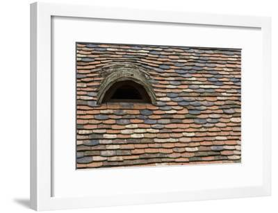 Detail of a Tile Roof with a Window in the Old Downtown-Joe Petersburger-Framed Photographic Print