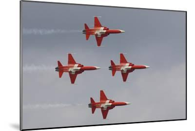 Bright Red Jets Flying in Formation At an Air Show-Joe Petersburger-Mounted Photographic Print