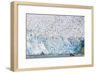 Ecotourists in a Zodiac in Front of Dawes Glacier-Rich Reid-Framed Photographic Print