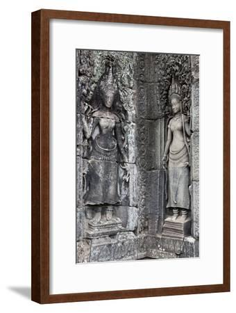 Carved Stone Statues and Relief Sculpture On Temple Walls-Kent Kobersteen-Framed Photographic Print