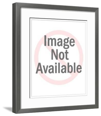 Man in Suit Sitting on Globe-Pop Ink - CSA Images-Framed Art Print