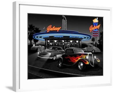 Galaxy Diner - Black and White-Helen Flint-Framed Art Print