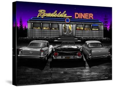 Roadside Diner - Black and White-Helen Flint-Stretched Canvas Print