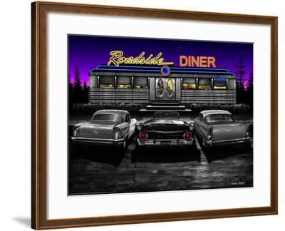 Roadside Diner - Black and White-Helen Flint-Framed Art Print