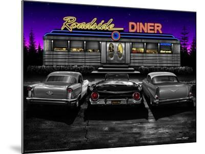 Roadside Diner - Black and White-Helen Flint-Mounted Art Print