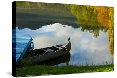 Lake Reflection-Sally Linden-Stretched Canvas Print