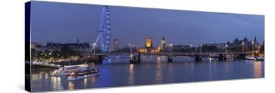 A Blended Composite Panoramic of London on the Thames River at Dusk-Stephen Alvarez-Stretched Canvas Print