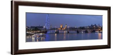 A Blended Composite Panoramic of London on the Thames River at Dusk-Stephen Alvarez-Framed Photographic Print