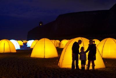Peace Camp Art Installation by the Mussenden Temple in Derry-Chris Hill-Framed Photographic Print