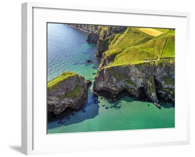 Aerial View of Carrick-a-Rede Rope Bridge on the North Irish Coast-Chris Hill-Framed Photographic Print
