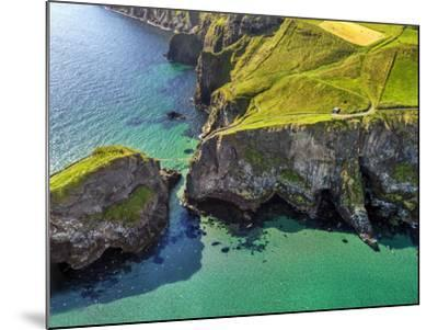 Aerial View of Carrick-a-Rede Rope Bridge on the North Irish Coast-Chris Hill-Mounted Photographic Print